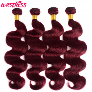 Pure Color 99J Burgundy Body Wave Human Hair Weaves 4 Bundles/Lot