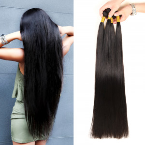 Straight Hair 3 Bundles Long Weave 32-40 Inches Brazilian Virgin Hair