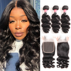 100% Brazilian Virgin Hair Loose Wave Weave 3 Bundles And 4*4 Lace Closures