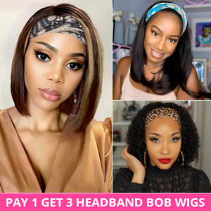 Pay 1 Get 3 Headband Bob Wigs