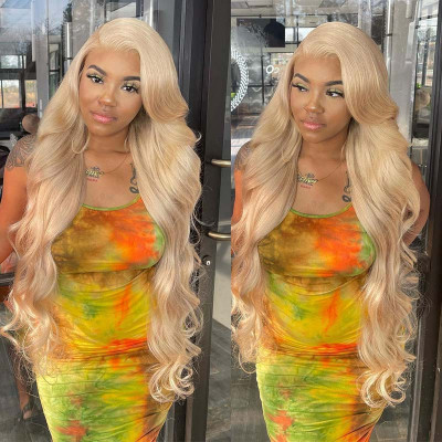 613 Blonde Long Straight and Body Wave Human Hair Lace Front Wigs