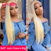 Blonde Wigs 6*6 Lace Closure Wigs #613 Straight Cheap Human Hair Lace Front Wigs With Baby Hair