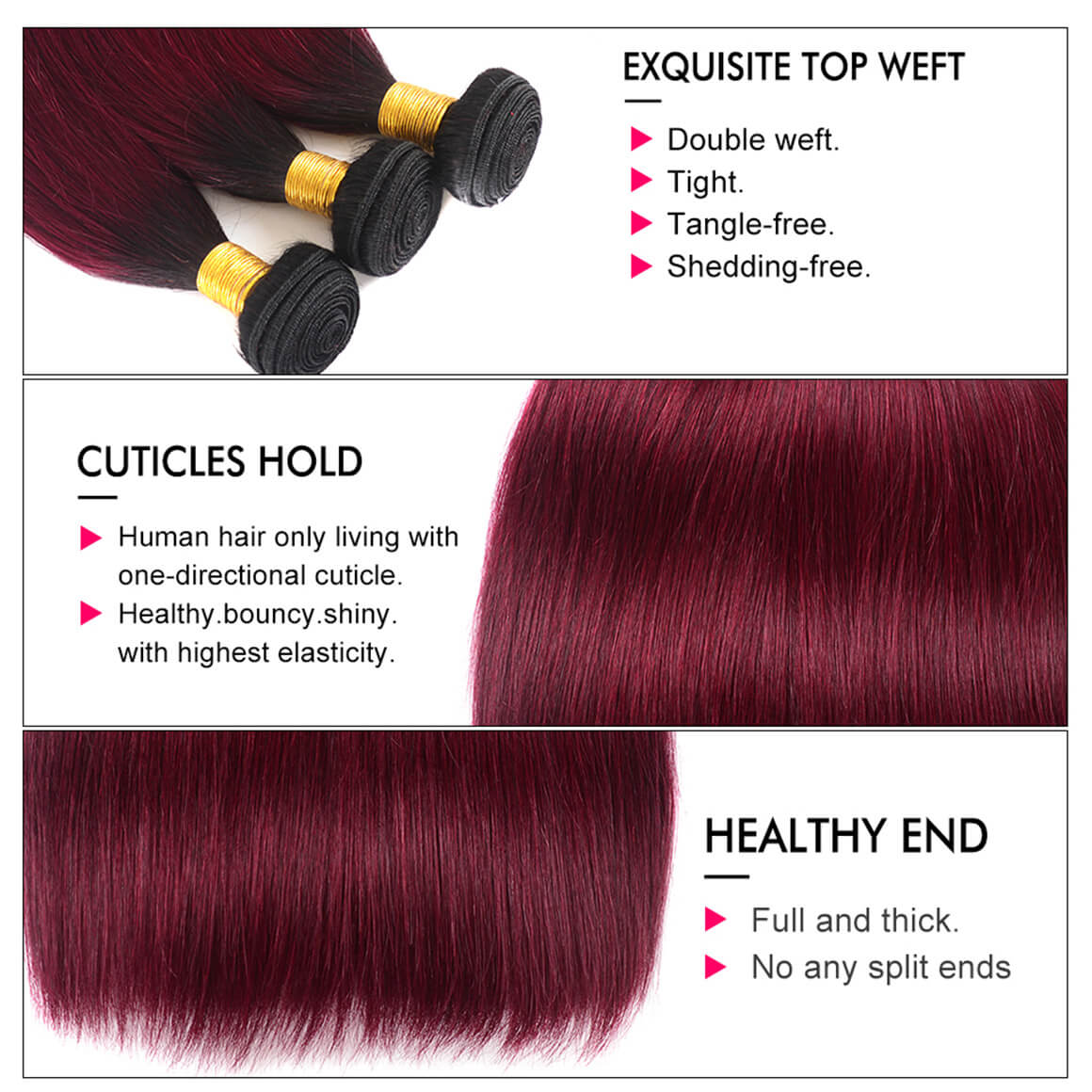 Burgundy Ombre Straight Hair