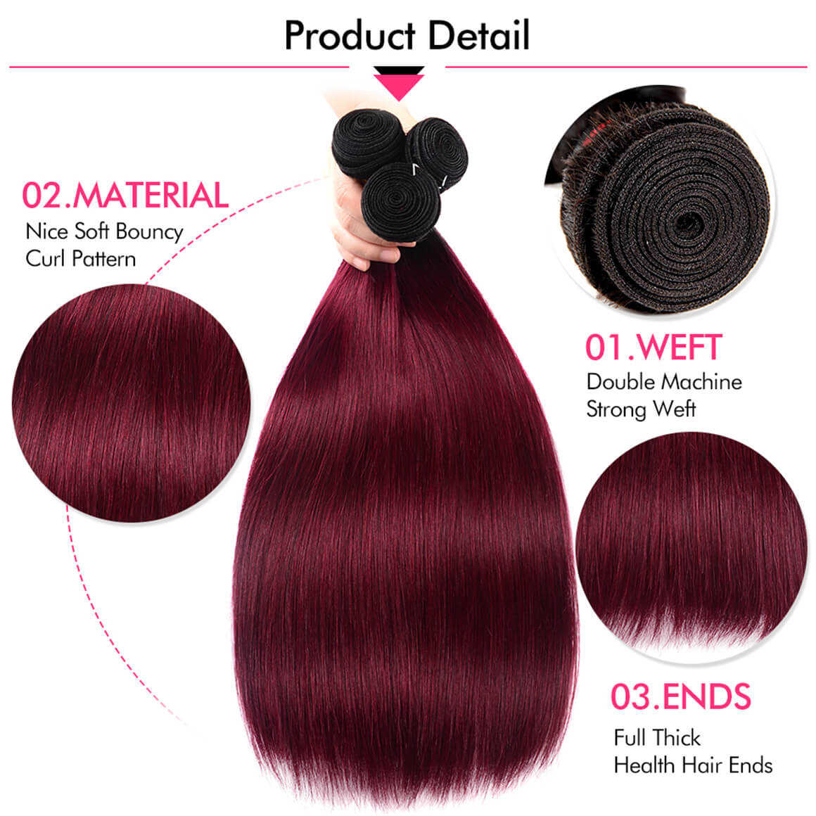 Burgundy Ombre Straight Hair Weaves 3 Bundles