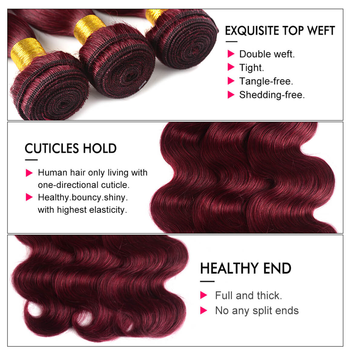 Ombre Hair Color 1B/Burgundy Brazilian Human Hair