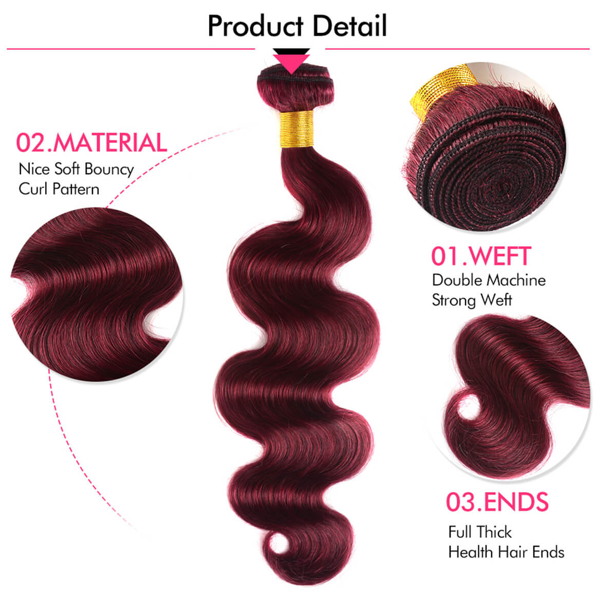 Burgundy Color Body Wave