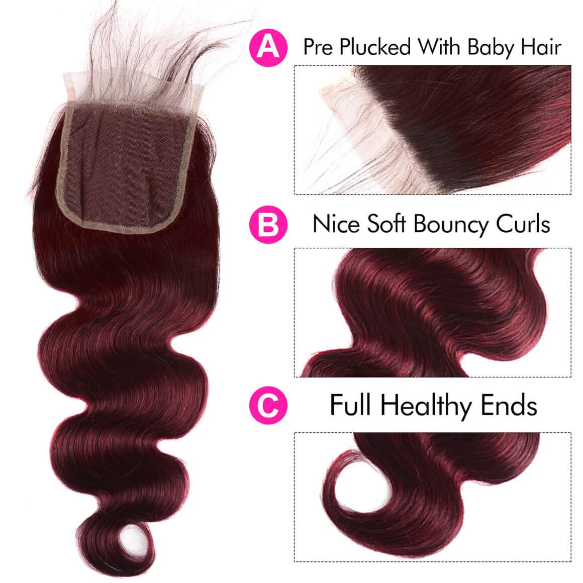 4*4 Lace Closure Burgundy Hair