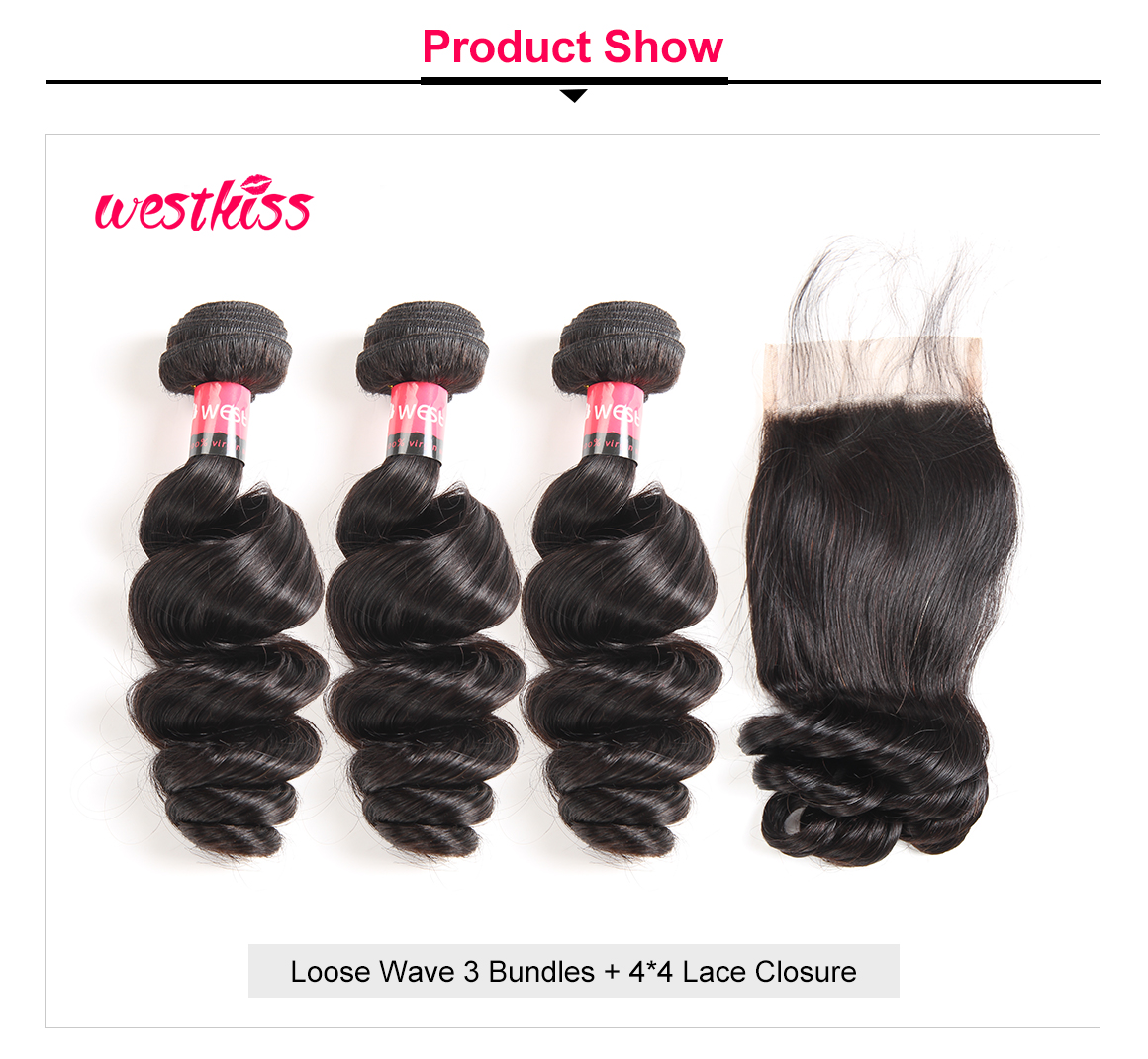 Loose Wave 3 Bundles Lace Closure