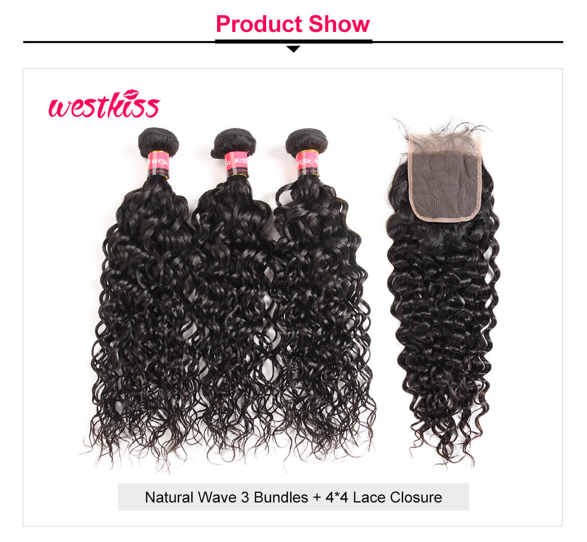 Natural Wave 3 Bundles Lace Closure