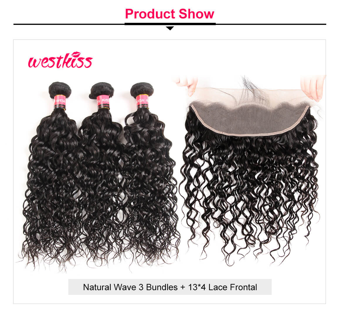 Natural Wave 3 Bundles Lace Frontal
