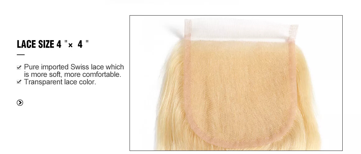 Straight Hair 613 Blonde Lace Closure Free Part and Virgin Human Hair Closure