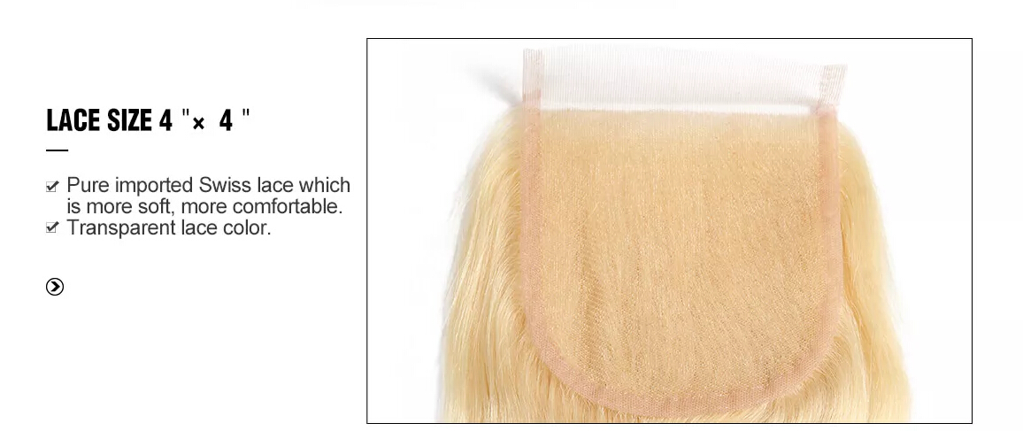 #613 Pure Blonde Straight Hair 3 Bundles With Closure