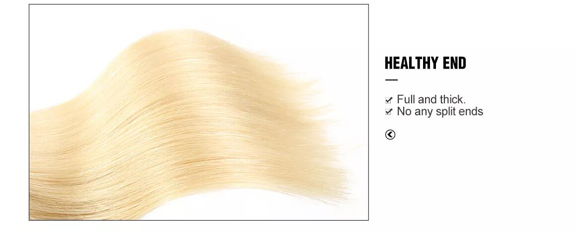 #613 Pure Blonde Brazilian Straight Hair 3 Bundles With Closure