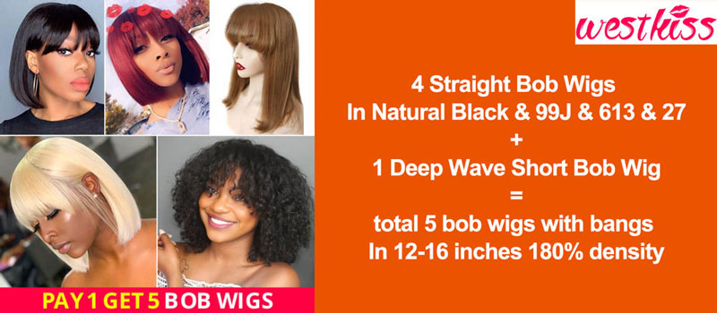 WestKiss Hair: Pay 1 Get 2 Bob Wigs Combo Deals
