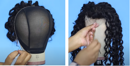 fix the hair closure on the front of the hair cap