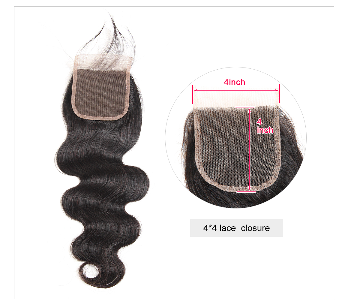 Brazilian Body Wave 4*4 Hair Closures