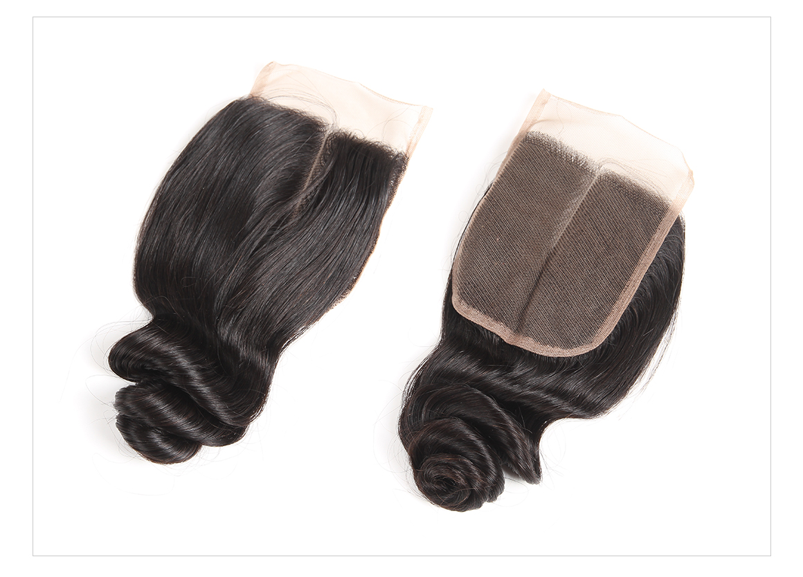 Peruvian Loose Wave Hair 4*4 Human Hair Closure