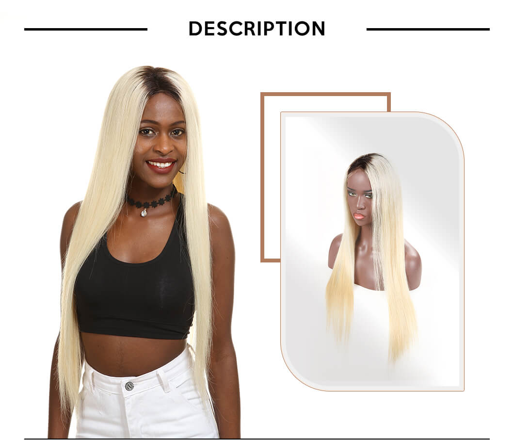 Blonde Straight Virgin Hair Ombre Wig